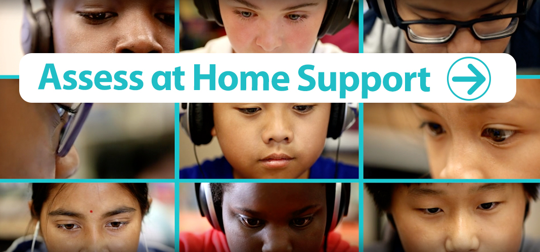 Faces of six students wearing headphones.